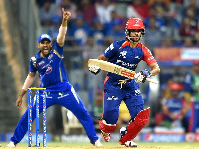 JP Duminy of Delhi Daredevils (DD) in action against Mumbai Indians (MI) during the IPL 2015 match between the two sides at Wankhede Stadium, Mumbai. (HT Photo/Arijit Sen)