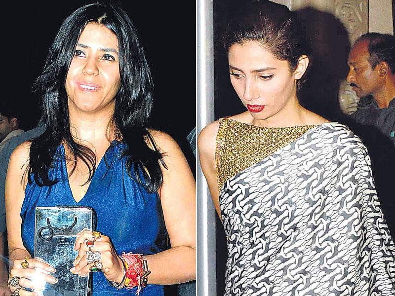 Ekta Kapoor and Mahira Khan at Abhishek Kapoor's wedding. (HT photo)