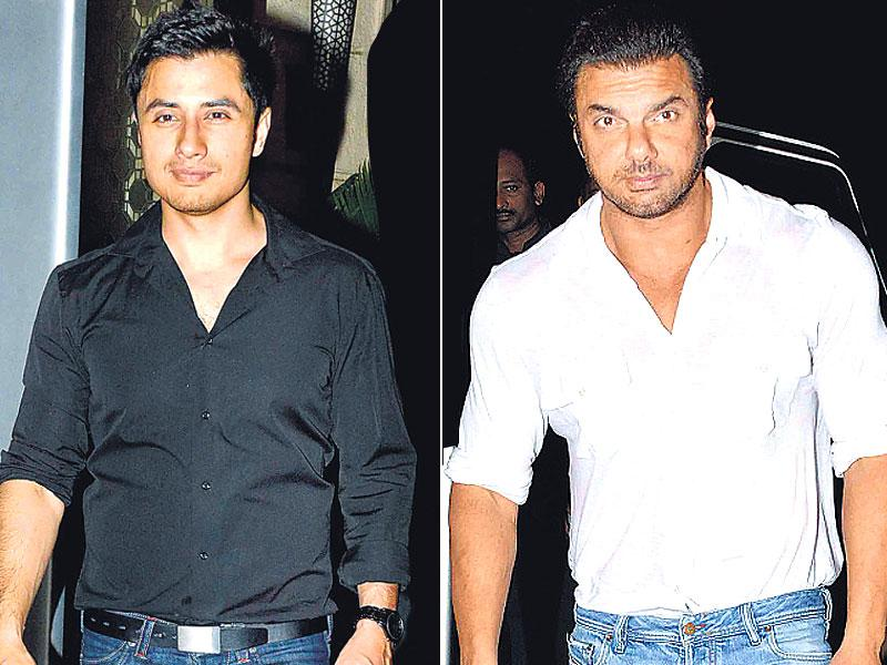 Sohail Khan and Ali Zafar at Abhishek Kapoor's wedding. (HT photo)