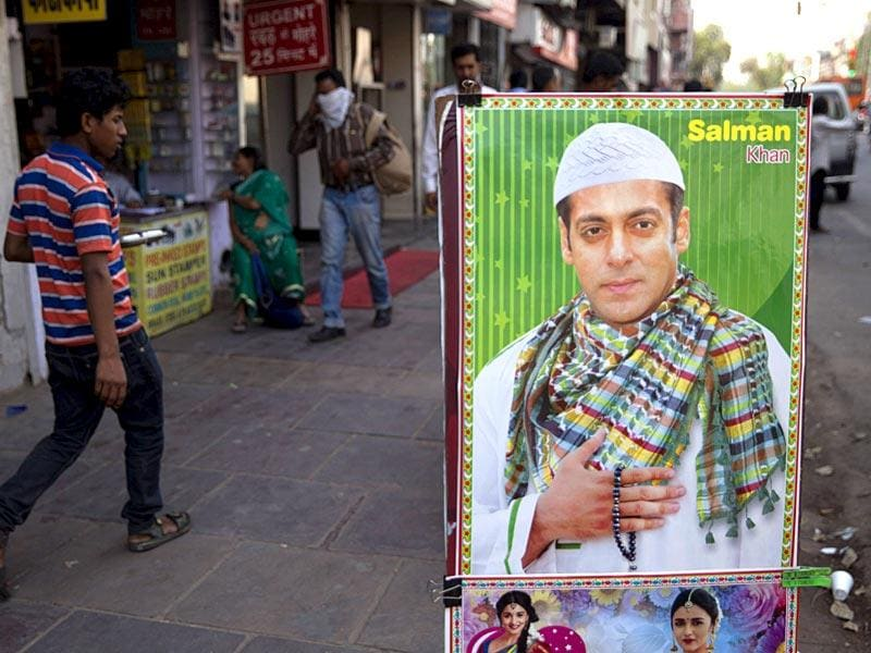 Salman Khan's poster up for sale. The star commands a huge fan following in the country. (AP Photo)