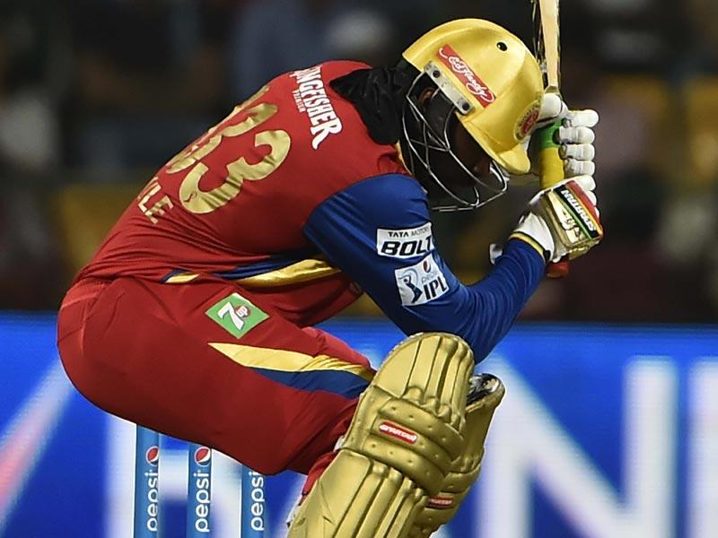 Sandeep Sharma kept Gayle quiet in the first over before the Jamaican cut loose. (Virendra Singh Gosain/HT Photo)