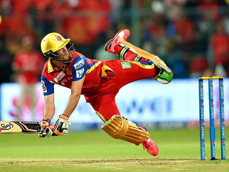 AB de Villiers (47 not out) played some outrageous shots to pile on the score. (PTI Photo)