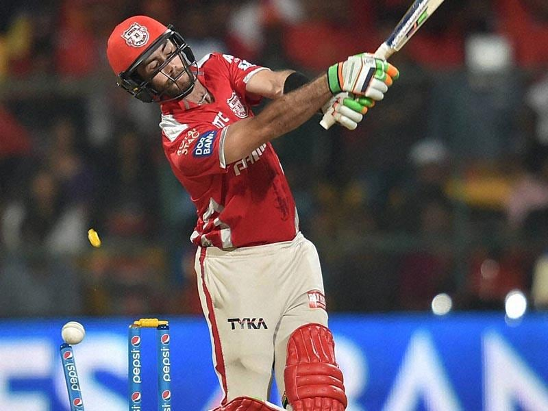 Australian Glenn Maxwell's miserable IPL season continued. Aravind cleaned him up for 1. (PTI Photo)