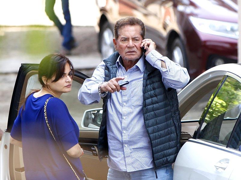 Salman Khan's father Salim Khan and sister Alvira Khan were spotted the actor's Galaxy Apartments residence, a day after the superstar was convicted in the 2002 hit-and-run case. (Satish Bate/HT photo)