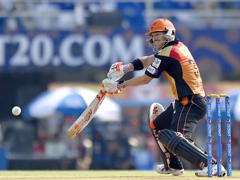 Sunrisers skipper David Warner got off to his usual brisk start before falling to Shane Watson for 24. (Pratham Gokhale/HT Photo)