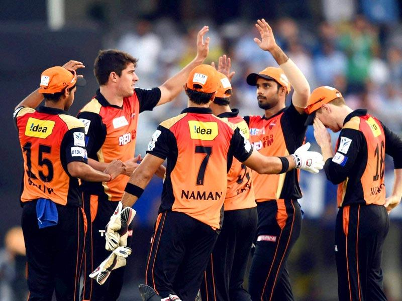 Sunrisers Hyderabad celebrate the wicket of Rajasthan Royals' Karun Nair. (PTI Photo)