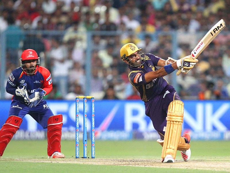 KKR opener Robin Uthappa was trapped by Amit Mishra for 32 when he looked set for a big one. (Subhankar Chakraborty/HT Photo)