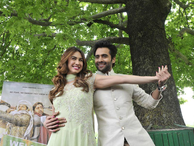 Actor Jackky Bhagnani and actress Lauren Gottlieb in Srinagar on Saturday. Waseem Andrabi/HT