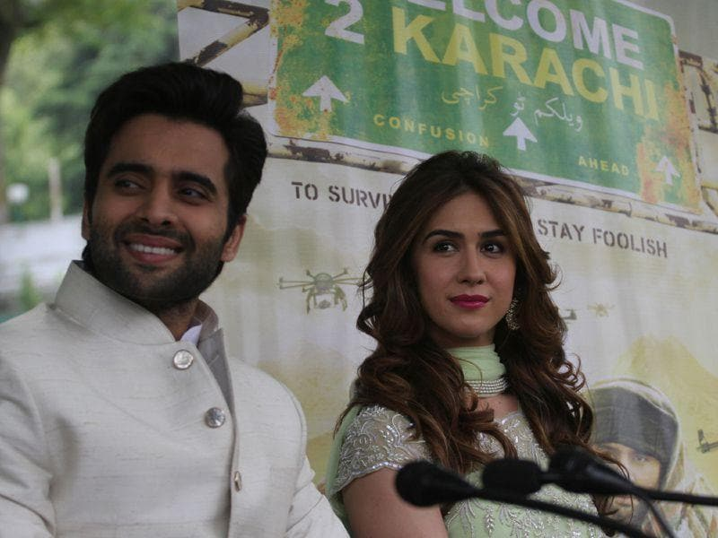 Actor Jackky Bhagnani and Lauren Gottlieb talking to mediapersons in Srinagar. Waseem Andrabi/ HT