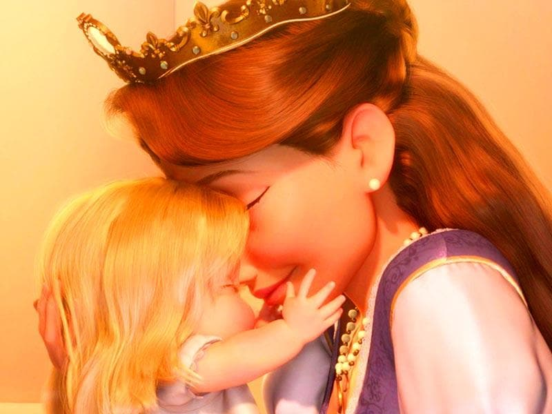 Queen of Corona from Tangled loves her daughter unconditionally. When Rapunzel is born, she picks her up, cuddels her and smiles adoringly, melting her heart.