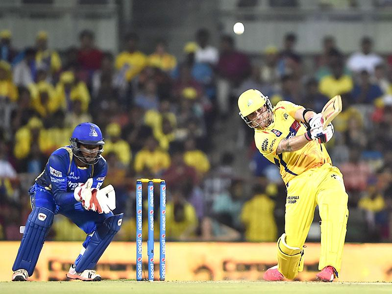 Brendon McCullum began slowly but changed gears to top-score with 81 as CSK posted 157/5 against Rajasthan Royals on Sunday. (Virendra Singh Gosain/HT Photo)