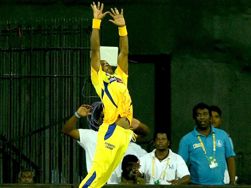 Dwayne Bravo took a spectacular catch at the boundary to send Shane Watson packing. (PTI Photo)