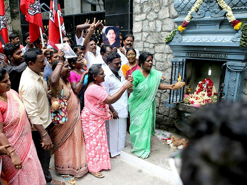 All India Anna Dravida Munnetra Kazhagam (AIADMK) party cadres celebrate after party chief J Jayalalithaa was cleared of corruption charges by Karnataka High Court in the disproportionate assets case, outside her residence in Chennai. (AFP Photo)