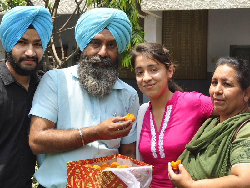Darshveer Kaur of RS Model School, Ludhiana shared the top position with Saema Rashid of Khalsa Senior Secondary School, Ropar with both securing 100 per cent marks. Sikander Singh Chopra/HT