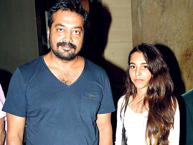 Anurag Kashyap with daughter Aliyah at Bombay Velvet premiere. (Yogen Shah/HT photo)