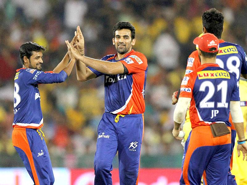Zaheer Khan's stunning spell (2/9) backed by a similarly miserly spell from Shahbaz Nadeem pegged back CSK in Raipur on Tuesday. (PTI Photo)