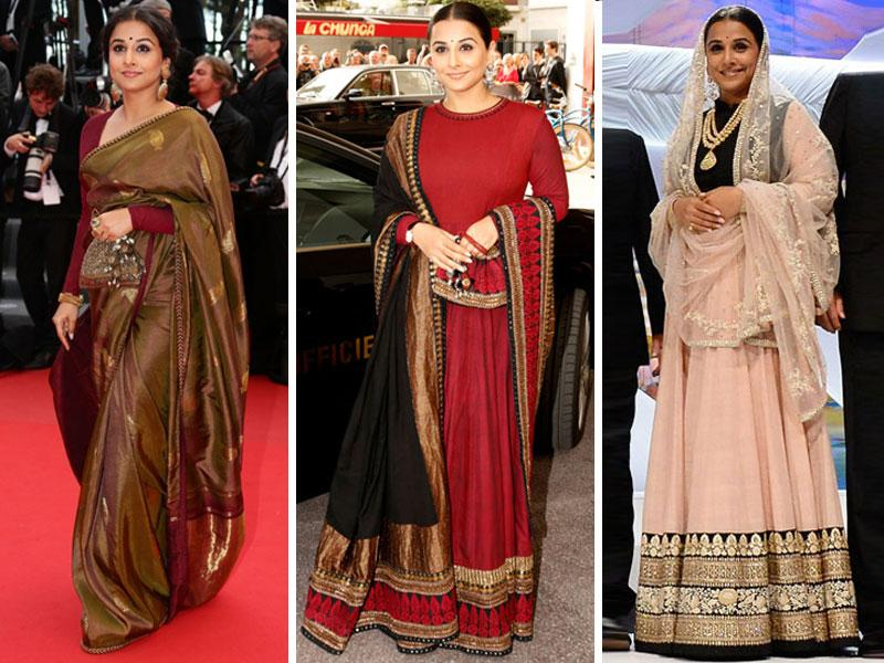 Vidya Balan favoured desi chic when she went to Cannes as a jury member in 2013. With Sabyasachi as her designer, the actor carried off everything from lehengas to nathni. The reaction to her appearance was mixed in India, with some calling it too excessive.