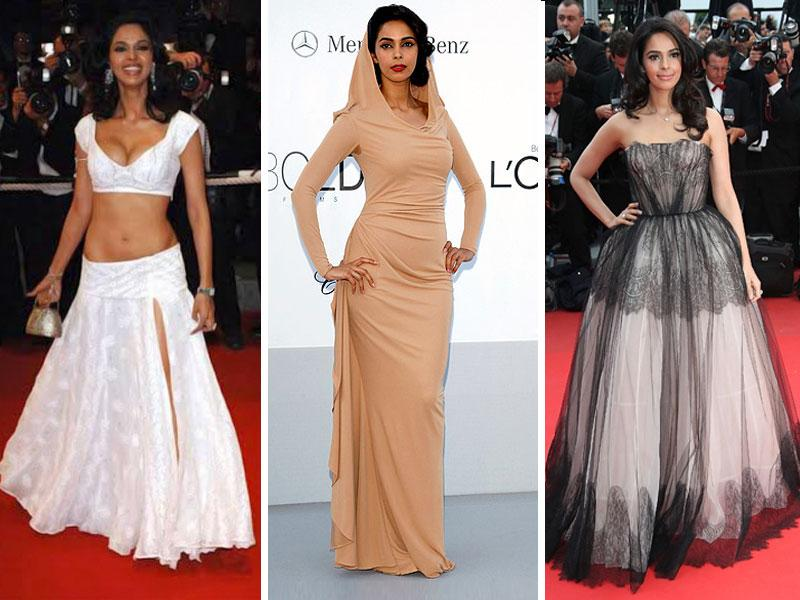 Mallika Sherawat is not somebody who does anything by half measures. But her one outfit we love to hate is the peekaboo white lehenga in which she made her first appearance at Cannes red carpet.