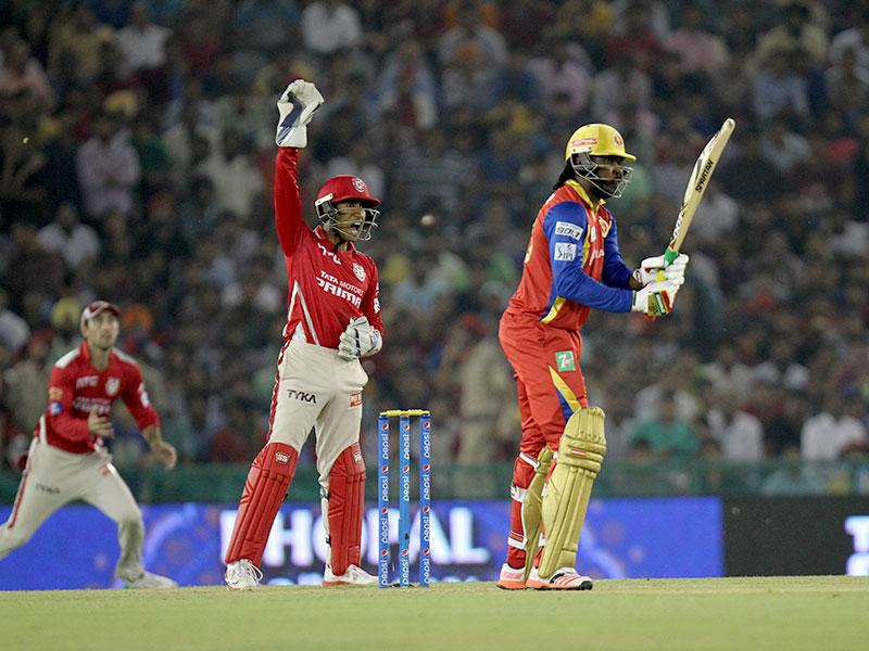 Royal Challengers Bangalore (RCB) opener Chris Gayle wasn't able to really get going against Kings XI Punjab (KXIP) and eventually got out for 17 in the IPL 2015 match at Mohali on May 13. (Ravi Kumar/HT Photo)