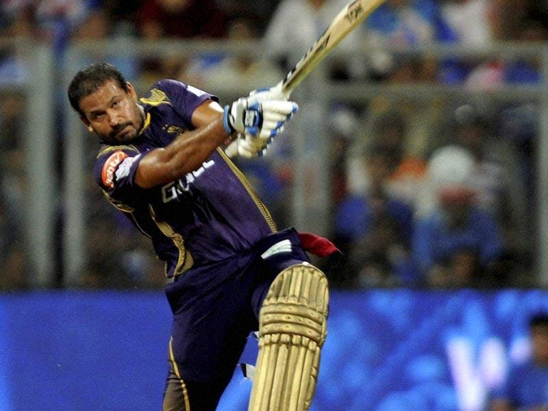 Kolkata Knight Riders' (KKR's) Yusuf Pathan plays a shot against Mumbai Indians (MI) during the IPL 2015 match between the two sides in Mumbai on May 14. (PTI Photo)