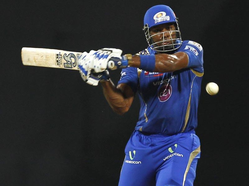 Mumbai Indians' (MI's) Kieron Pollard in action against Kolkata Knight Riders (KKR) during the IPL 2015 match between the two sides in Mumbai on May 14. (Satish Bate/HT Photo)