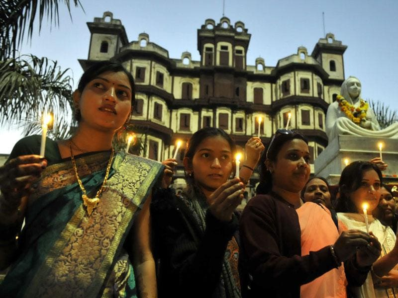Candle light protest was organised in Indore to raise awareness about rising crimes against women. (HT file photo)