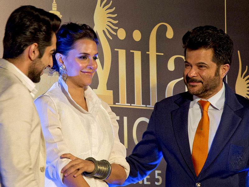 Ayushmann Khurrana, Neha Dhupia and Anil Kapoor at a press conference to announce the IIFA award ceremony to be held in Kuala Lumpur. (PTI Photo)