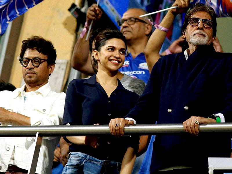 Amitabh Bachchan with Deepika Padukone and Irfan during the KKR-MI match in Mumbai. (PTI Photo)