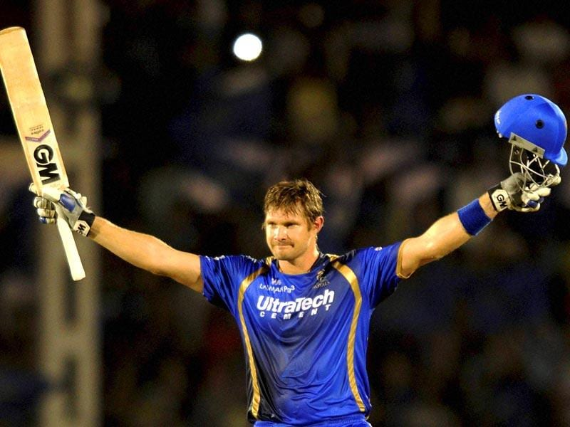 Rajasthan Royals (RR) batsman Shane Watson celebrates his century against Kolkata Knight Riders (KKR) during the IPL 2015 match between the two sides in Mumbai on May 16. (PTI Photo)