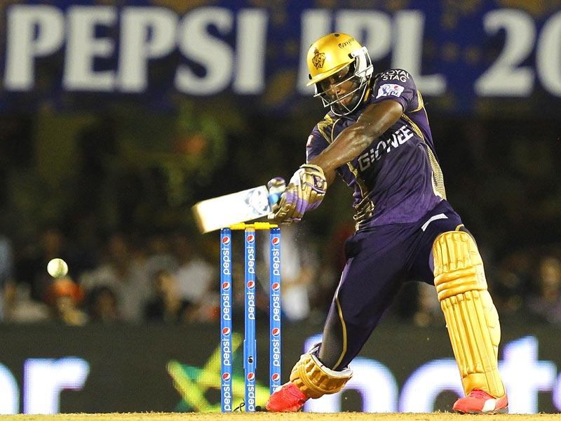 Kolkata Knight Riders' (KKR's) Andre Russell plays a shot against Rajasthan Royals (RR) during the IPL 2015 match between the two sides in Mumbai on May 16. (Pratham Gokhale/HT Photo)