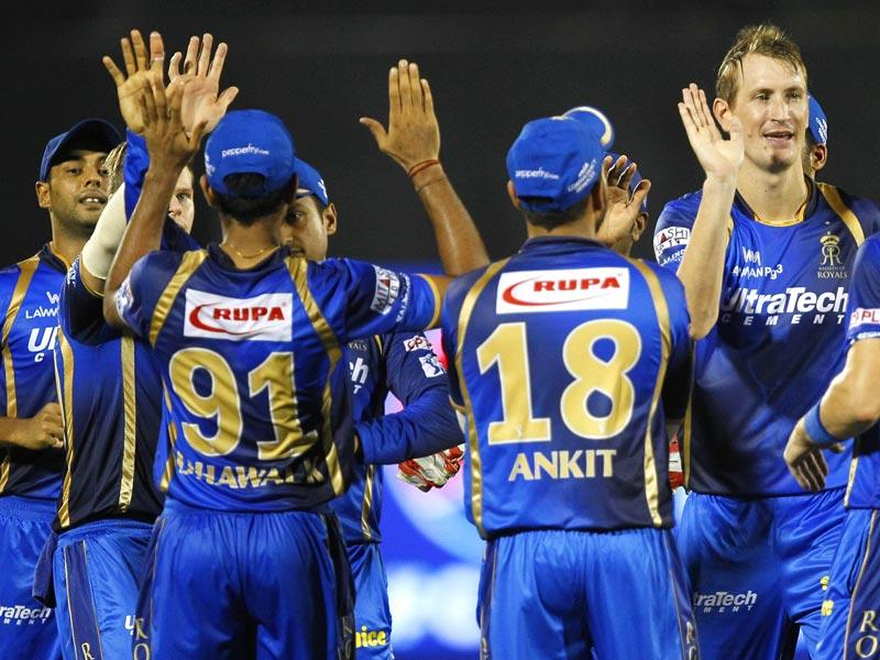 Rajasthan Royals (RR) players celebrate after taking the wicket of a Kolkata Knight Riders (KKR) batsman during their IPL 2015 match in Mumbai on May 16. (Pratham Gokhale/HT Photo)