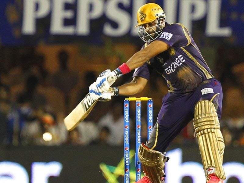 Kolkata Knight Riders' (KKR's) Yusuf Pathan plays a shot against Rajasthan Royals (RR) during the IPL 2015 match between the two sides in Mumbai on May 16. (Pratham Gokhale/HT Photo)