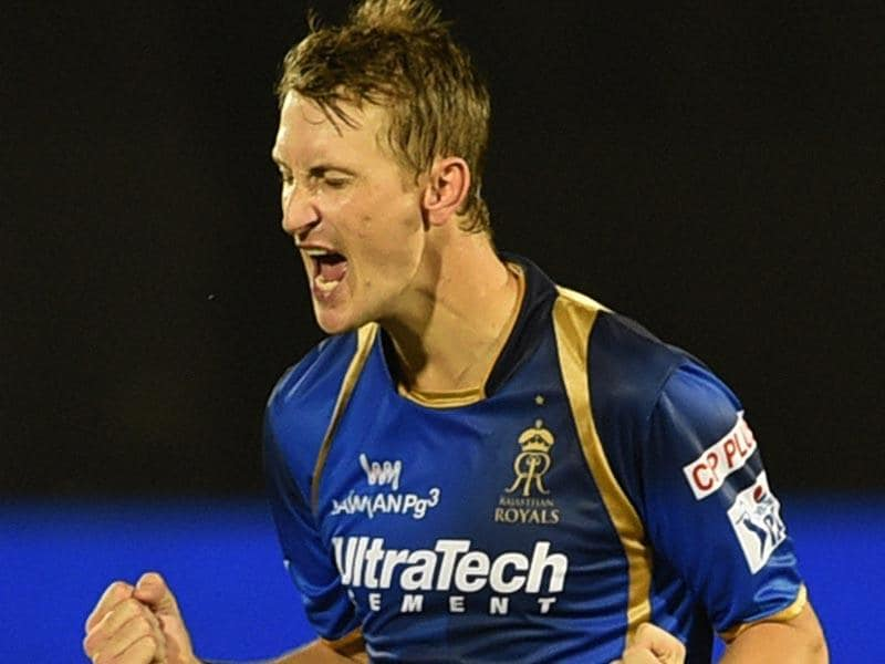 Rajasthan Royals (RR) bowler Chris Morris celebrates after taking a wicket in his team's IPL 2015 match against Kolkata Knight Riders (KKR) in Mumbai on May 16. (PTI Photo)