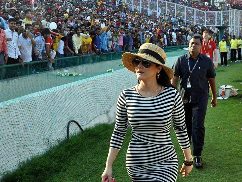 Kings XI Punjab team co-owner Preity Zinta during an IPL match at PCA stadium in Mohali, on Saturday. Gurpreet Singh/HT