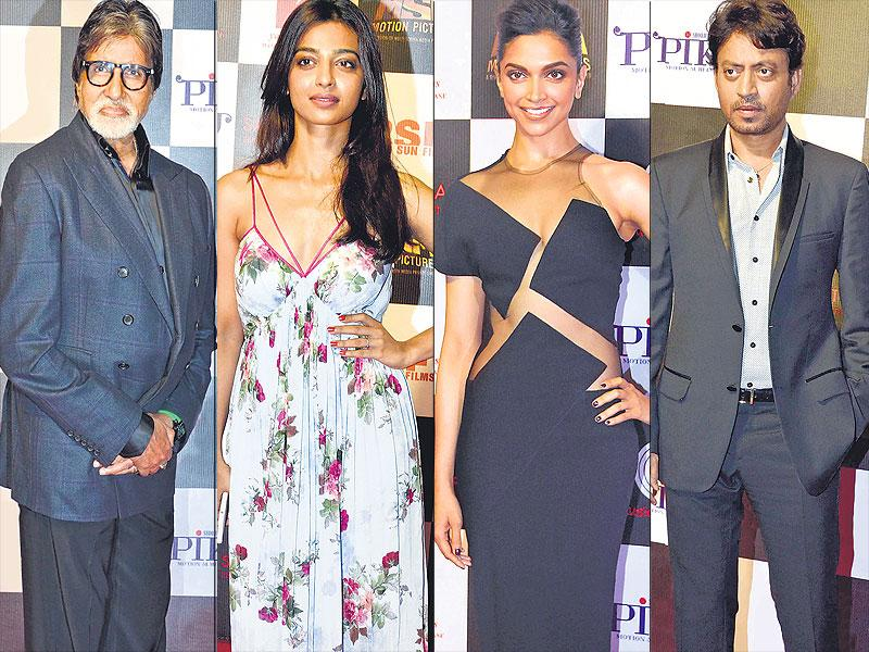 Amitabh Bachchan, Radhika Apte, Deepika Padukone and Irrfan Khan were spotted at at Piku's success bash. (HT photo)
