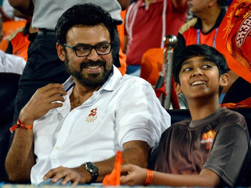 Actor Venkatesh and his son were at the Rajiv Gandhi International Stadium in Uppal, Hyderabad, to cheer SRH, who folded for a paltry 113. (PTI Photo)