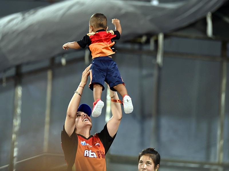 SRH opener Shikhar Dhawan's wife Ayesha plays with their son Zoravar at the stadium. (Santosh Harhare/HT Photo)