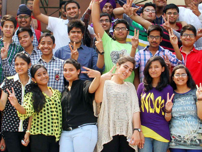 Toppers cheers after declaration of ICSE results at Sacred Heart Higher Secondary school in Patiala on Monday. Bharat Bhushan/HT