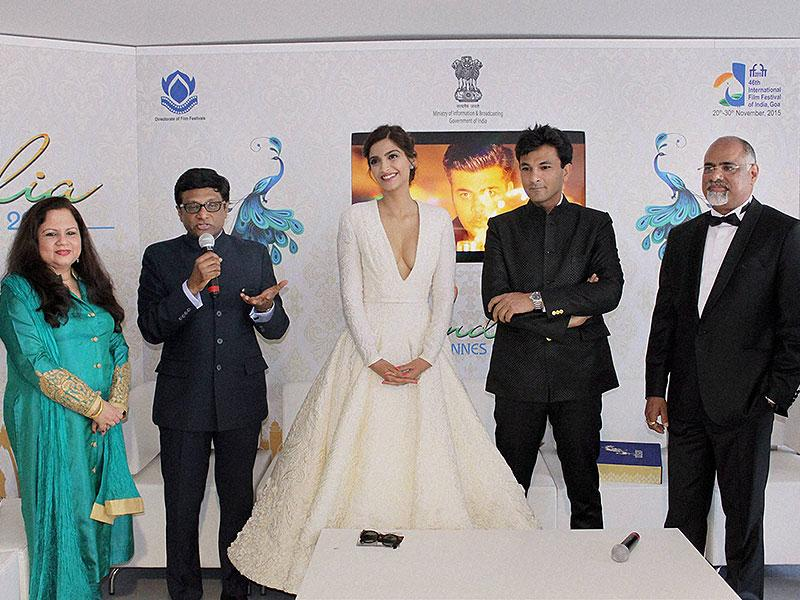 Sonam Kapoor with chef Vikas Khanna at the launch of his book in Cannes. (PTI photo)