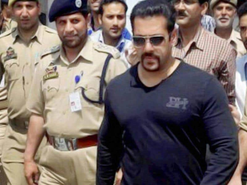 Salman Khan at International Airport in Srinagar during his departure on Tuesday after completing the shoot for his film Bajrangi Bhaijaan. (PTI Photo)