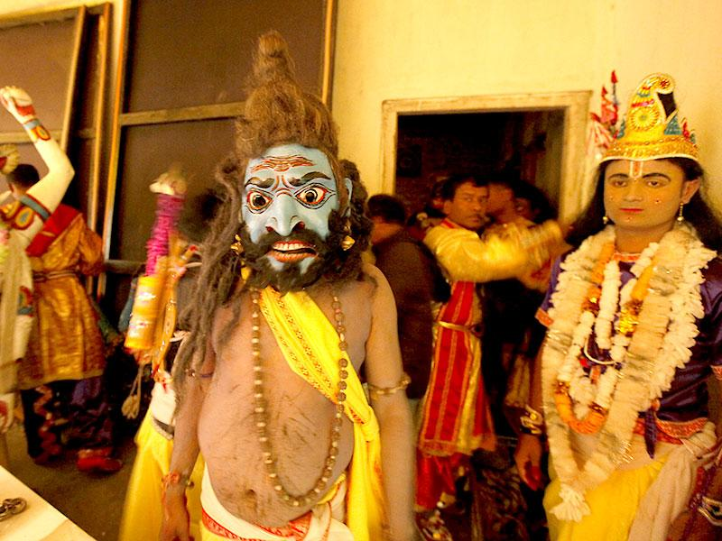 The masks are used during stage performances of dance dramas called bhaonas