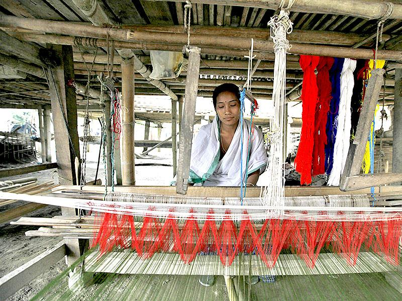 The Mishing women are expert weavers. Every home here has a handloom where the women weave their traditional garments for personal use or for gifts