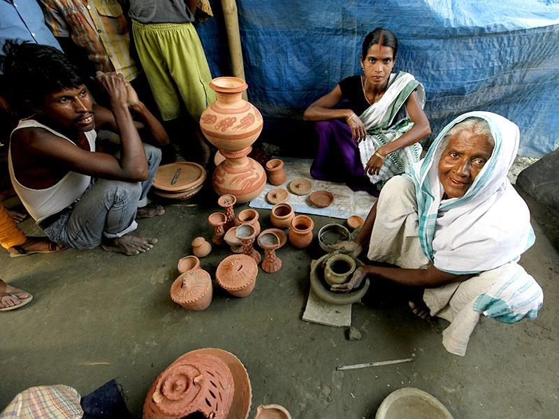Salmara in Majuli is famous for its potters who make earthenware by their bare hands, without the potter's wheel