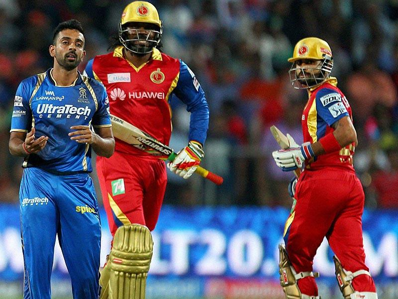 Disciplined bowling from RR bowlers pegged back RCB openers Chris Gayle and Virat Kohli. They could not get off to a flier, as skipper Kohli would have hoped after winning the toss and electing to bat. (PTI Photo)