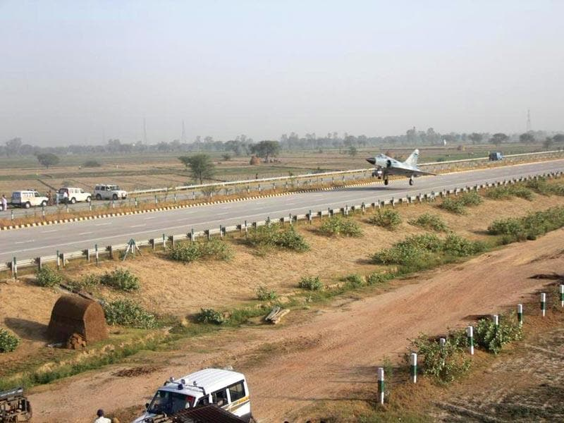 An unusual trial: In a one of its kind experiment, Indian Air Force Mirage-2000 aircraft lands on the Yamuna Expressway in Uttar Pradesh.(IAF Photo)
