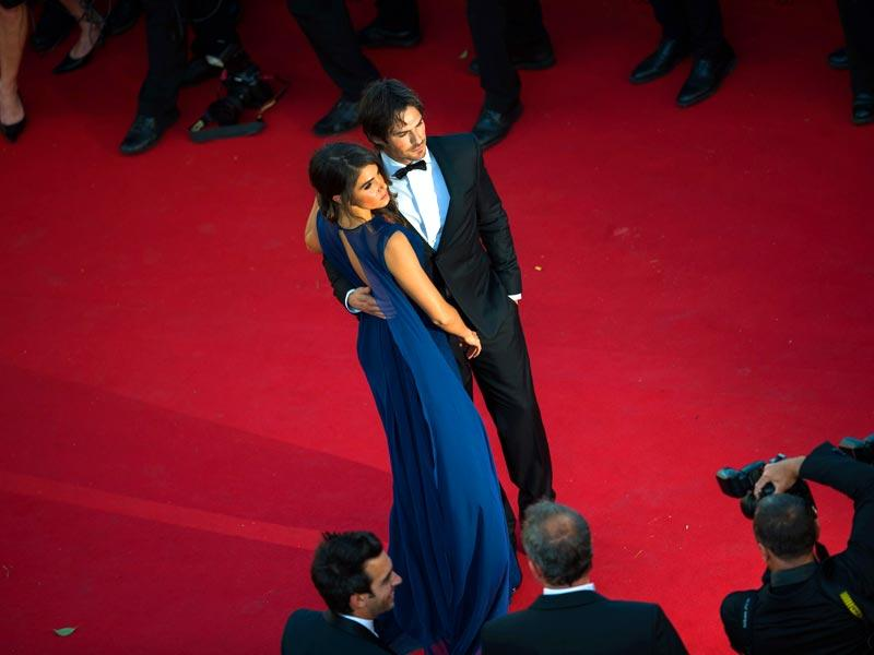 Nikki Reed and Ian Somerhalder pose as they arrive for the screening of the film Youth at the 68th Cannes Film Festival. (AFP photo)