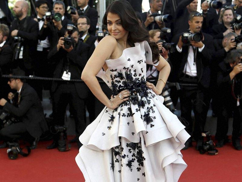 Aishwarya Rai Bachchan wore a Ralph and Russo gown for her second outing on the Cannes red carpet. (AFP photo)