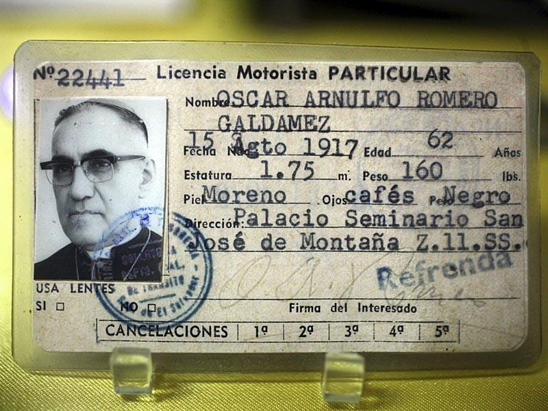 Oscar Arnulfo Romero's driver's license is displayed at the Romero Museum, in El Salvador. (Reuters)