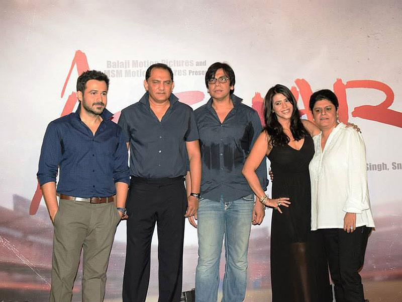 The whole crew of Azhar biopic at the first look launch.
