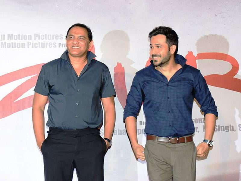 Emraan Hashmi and Mohammad Azharuddin speak to reporters at the first look launch of Azhar.